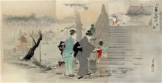 Ogata Gekko Woodblock Wisteria Blossoms Kameido Shrine
