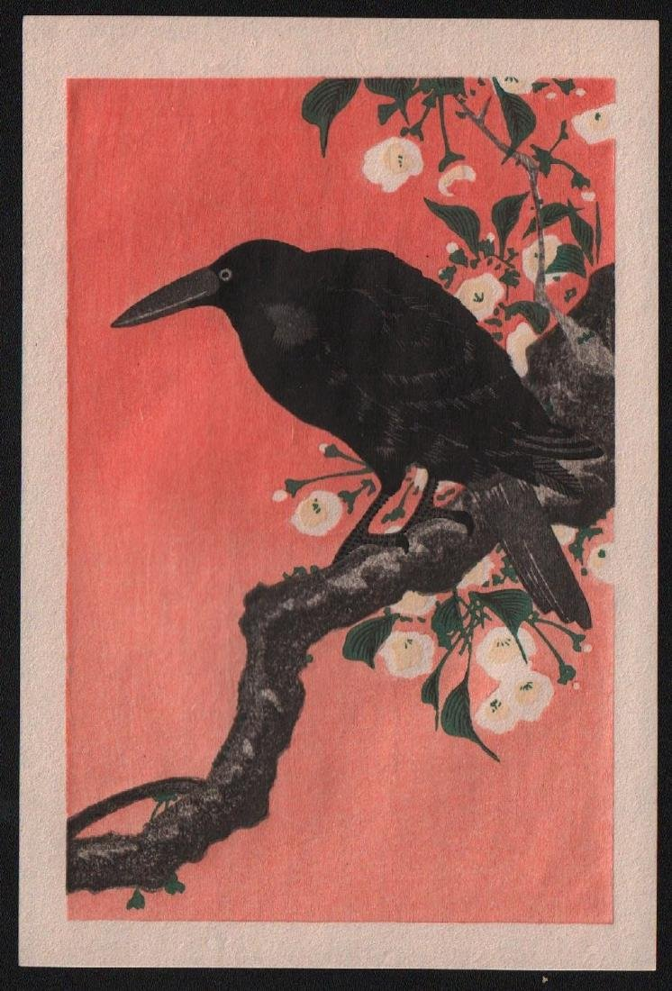 Ohara Koson Woodblock Black Crow on Branch
