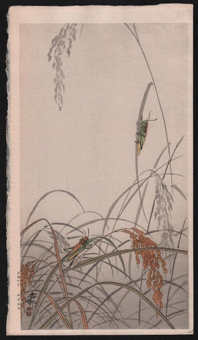 Ohara Koson Woodblock Crickets