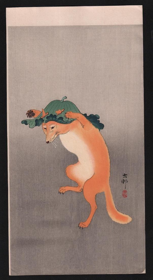 Ohara Koson Woodblock Dancing Fox