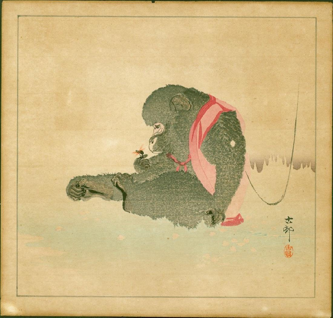 Ohara Koson Woodblock Seated Monkey Watching an Insect