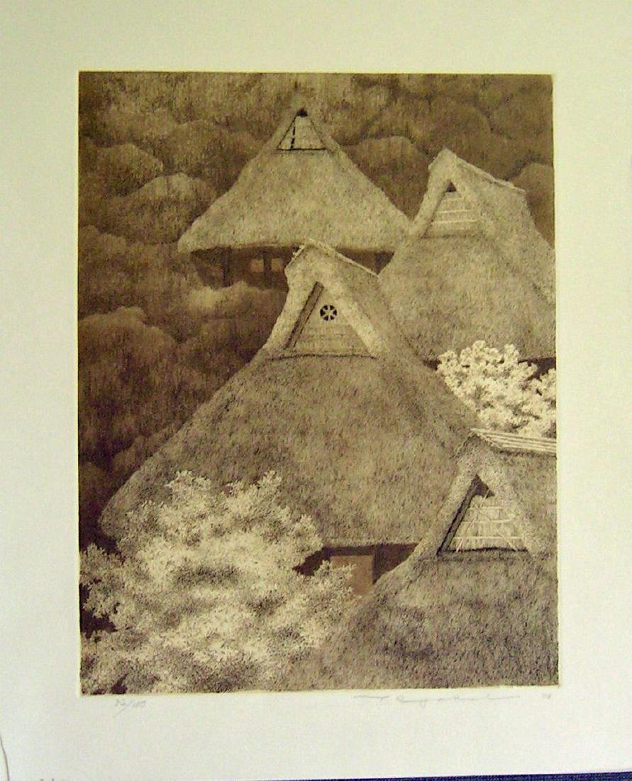 Ryohei Tanaka Copperplate Etching Mountain Hamlet No. 4