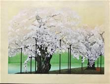 Seiji Sano Woodblock Shoukawa Cherry Tree