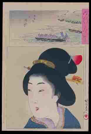 Toyohara Chikanobu Woodblock Beauty Remembering