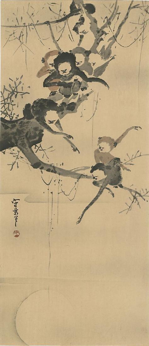 Unidentified Woodblock Monkeys in a Tree