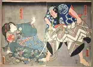 Utagawa Kunisada Diptych Woodblock Actors Ichikawa