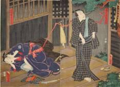 Utagawa Kunisada Diptych Woodblock Kabuki Lightning