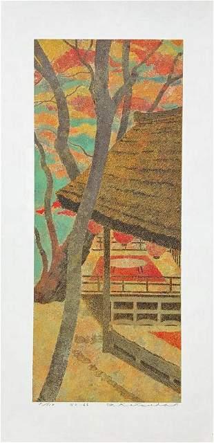 Yukio Katsuda Serigraph 166 Red Leaves Takao Kyoto