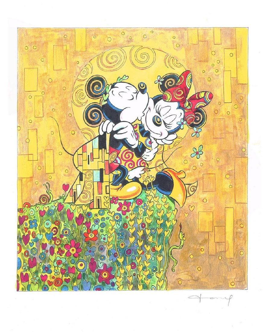"""Original Painting - Mickey & Minnie: Klimt's """"The Kiss"""""""