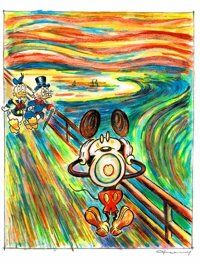 "Original Painting - Mickey Mouse: Munch's ""The Scream"""
