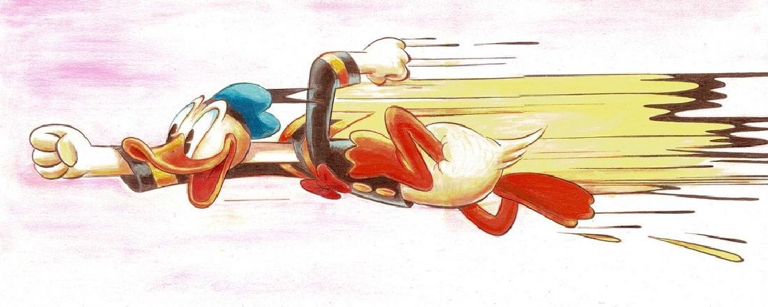 Original Painting - Happy Donald Duck in a Rush