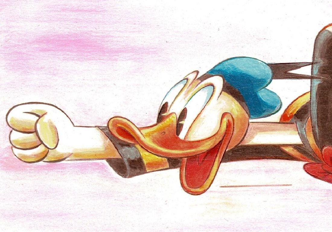 Original Painting - Happy Donald Duck in a Rush - 3