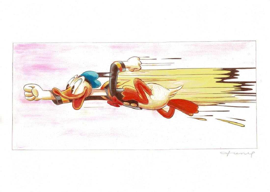Original Painting - Happy Donald Duck in a Rush - 7