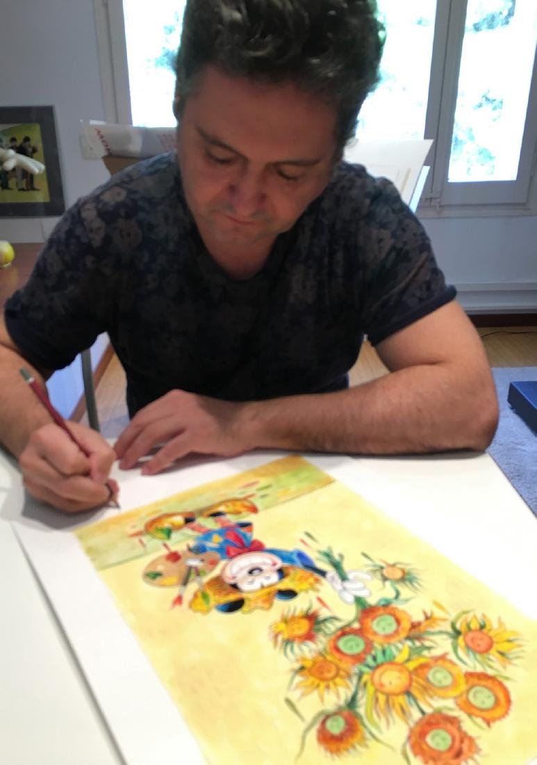"Original Painting - Mickey Mouse: Van Gogh ""Sunflowers"" - 7"