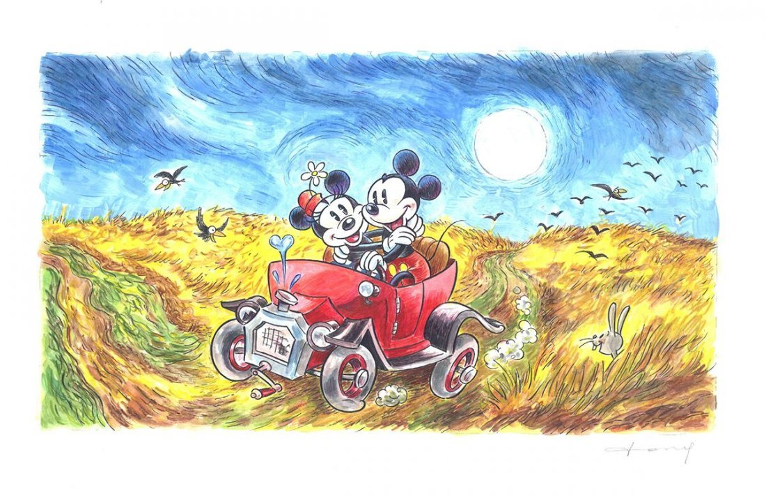 Mickey & Minnie inspired by van Gogh's Wheatfield Crows