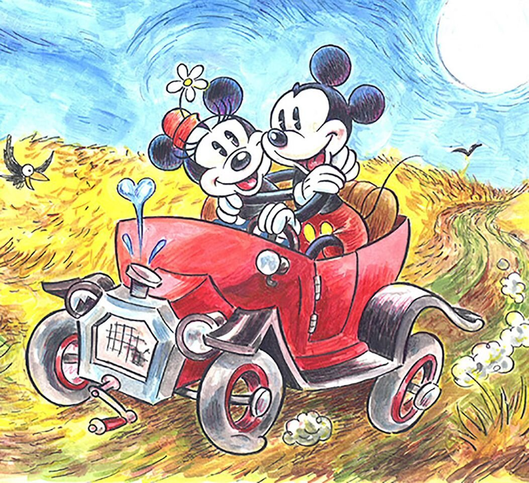 Mickey & Minnie inspired by van Gogh's Wheatfield Crows - 2
