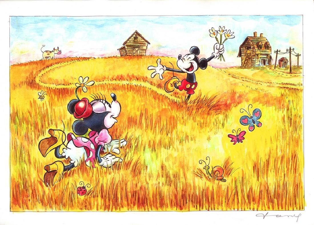 "Original Painting - Mickey: van Gogh's ""Wheat Reaper"""