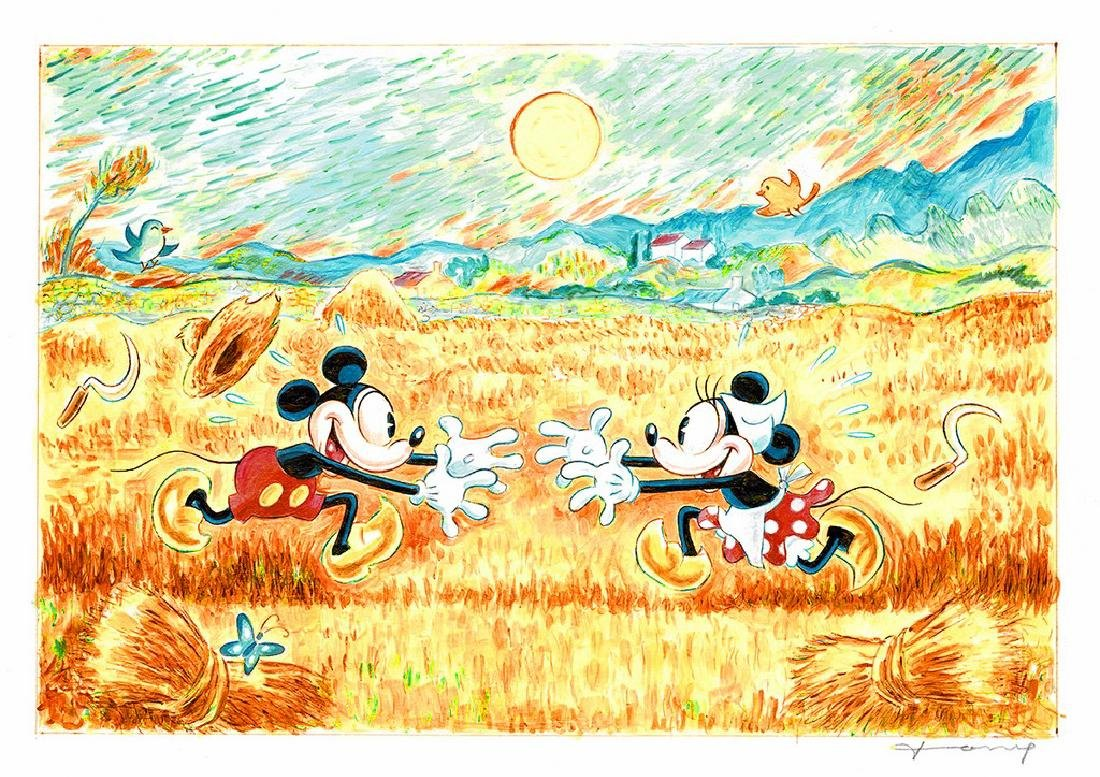 Original Painting - Mickey&Minnie: van Gogh's Landscape