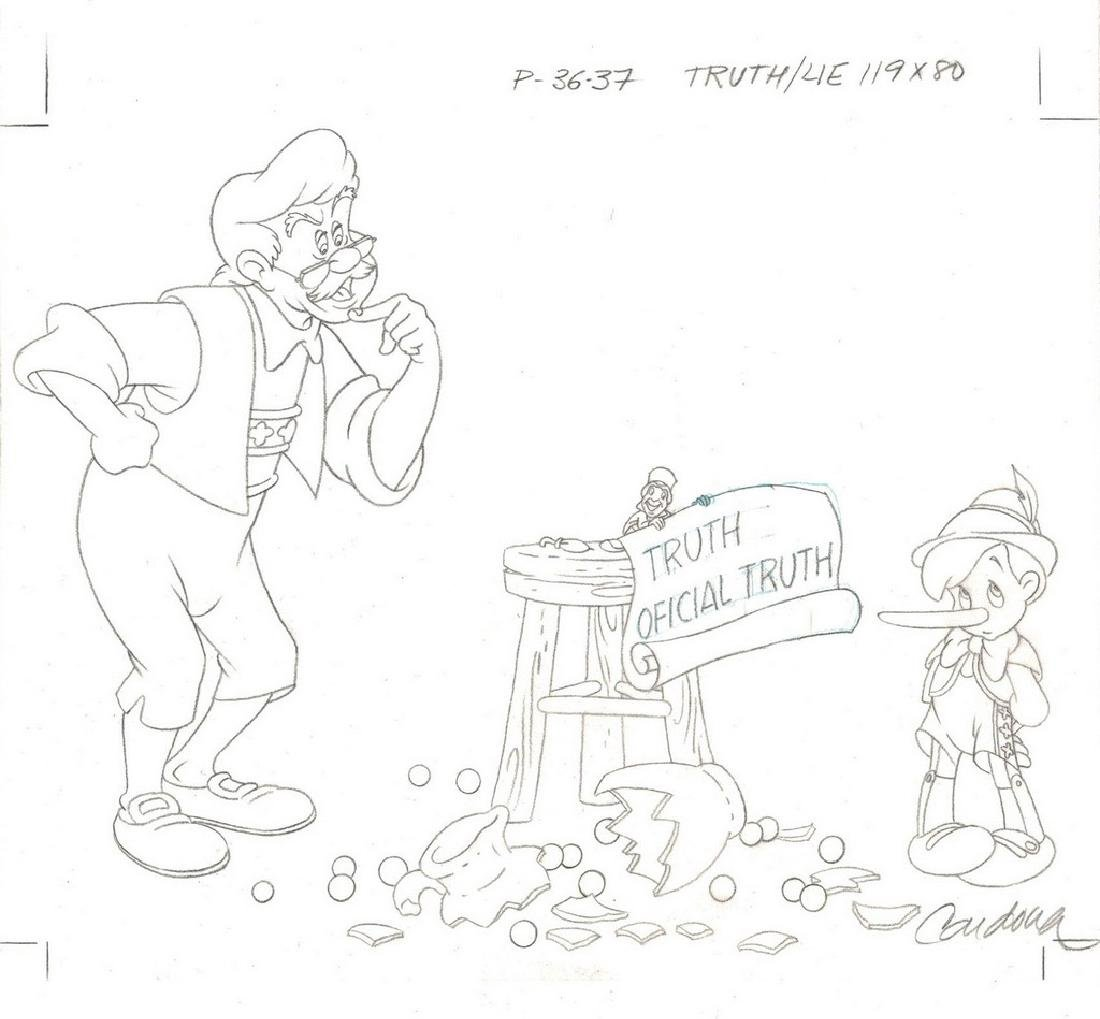 Pinocchio Original Production Drawing JM Cardona