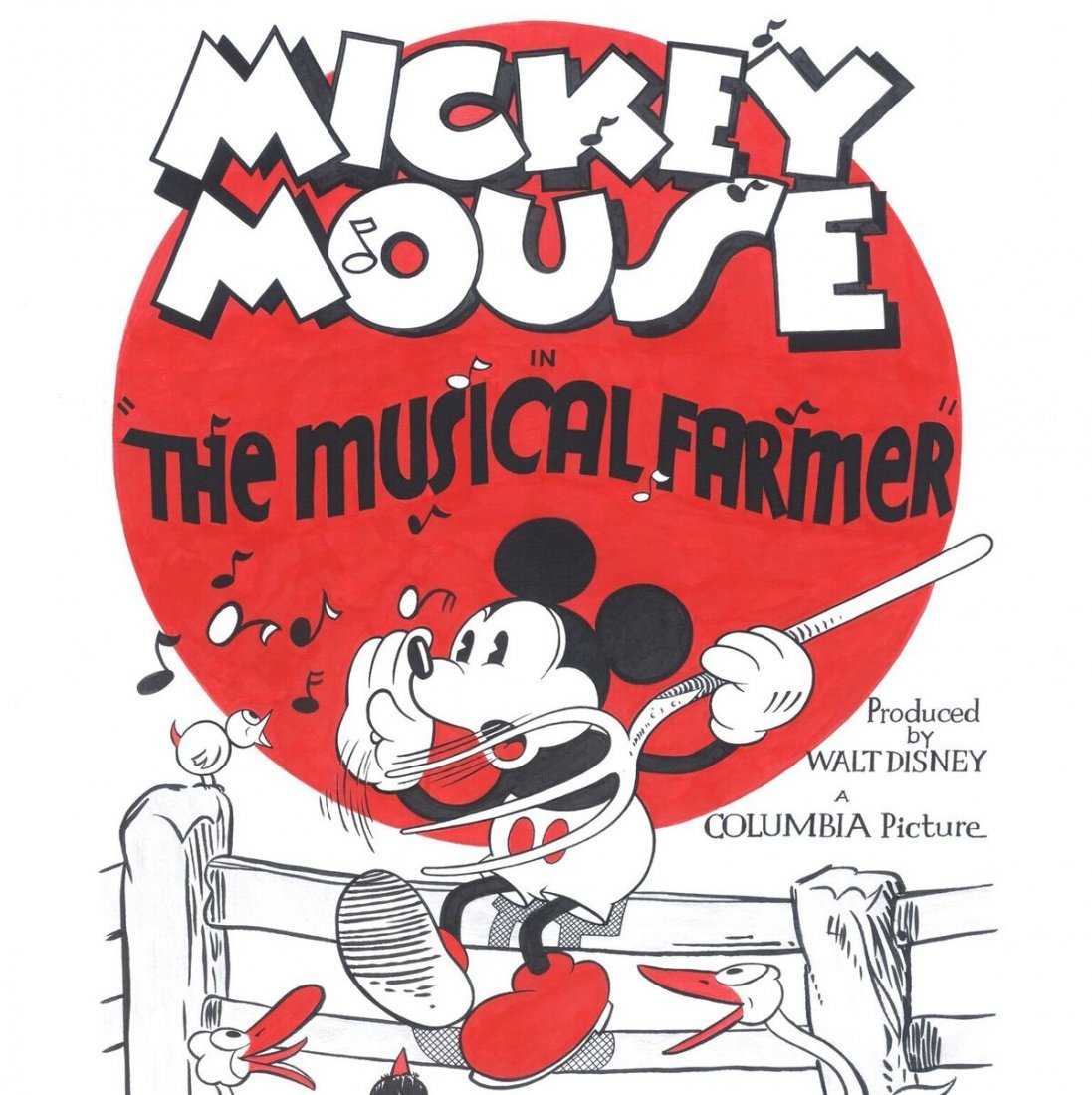 Disney Original Poster - Musical Farmer - Mickey Mouse