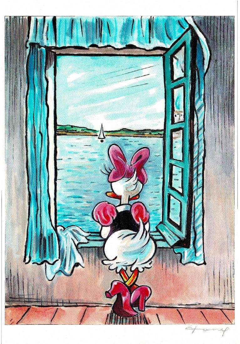 Original Mixed-Media - Daisy Duck inspired by Dali