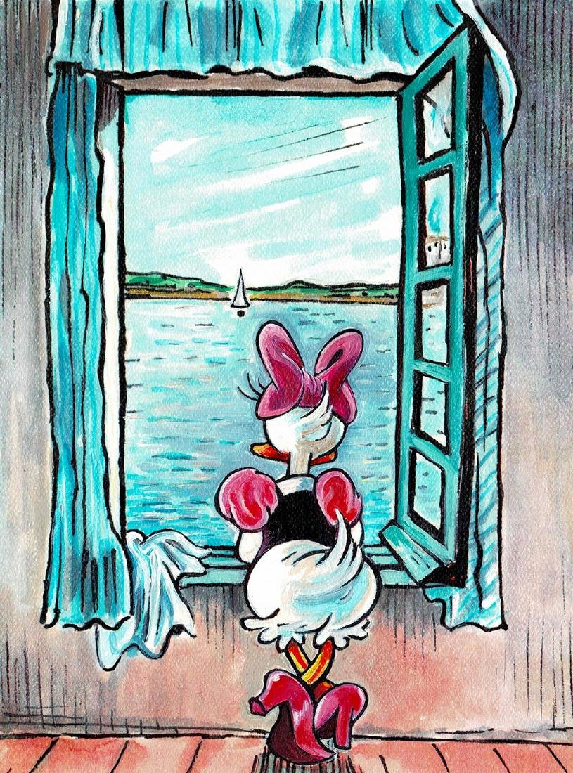 Original Mixed-Media - Daisy Duck inspired by Dali - 2