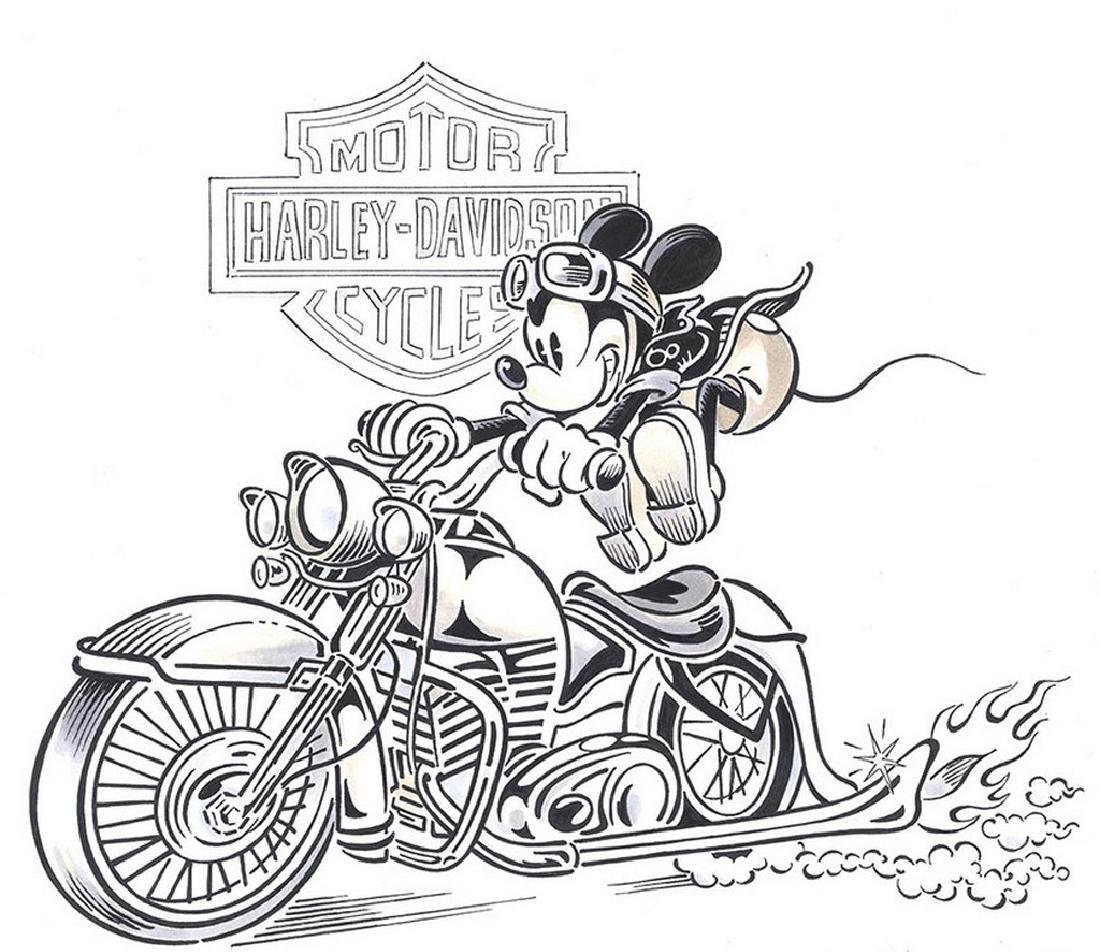 Original Painting of Mickey and his Harley-Davidson