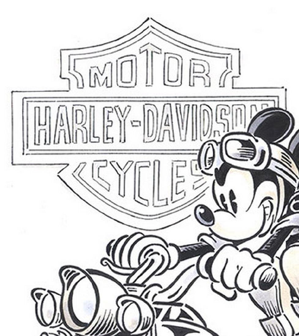 Original Painting of Mickey and his Harley-Davidson - 4