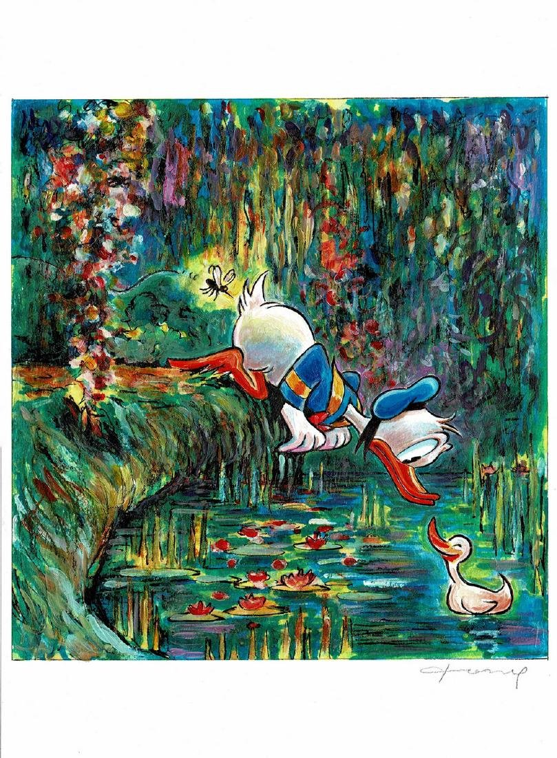 Original Painting - Donald Duck inspired by Monet
