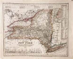 Meyer: Antique Map of New York/NYC inset, 1851