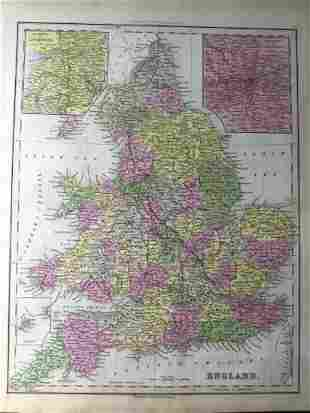 Tanner: Antique Map of England, London/Liverpool, 1843