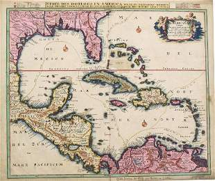 Ottens: Antique Map of the Caribbean / West Indies 1730