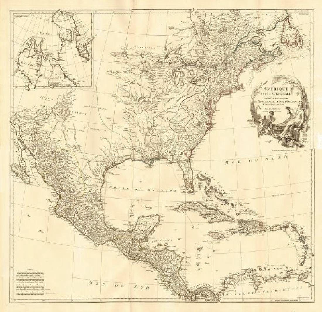 d'Anville: Antique Map of British/French North America
