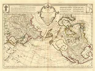 de l'Isle: Antique Map North Pacific Discoveries, 1750