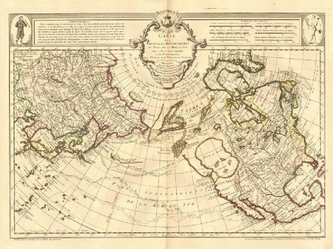 de l'Isle: Antique Map North Pacific Discoveries, 1750