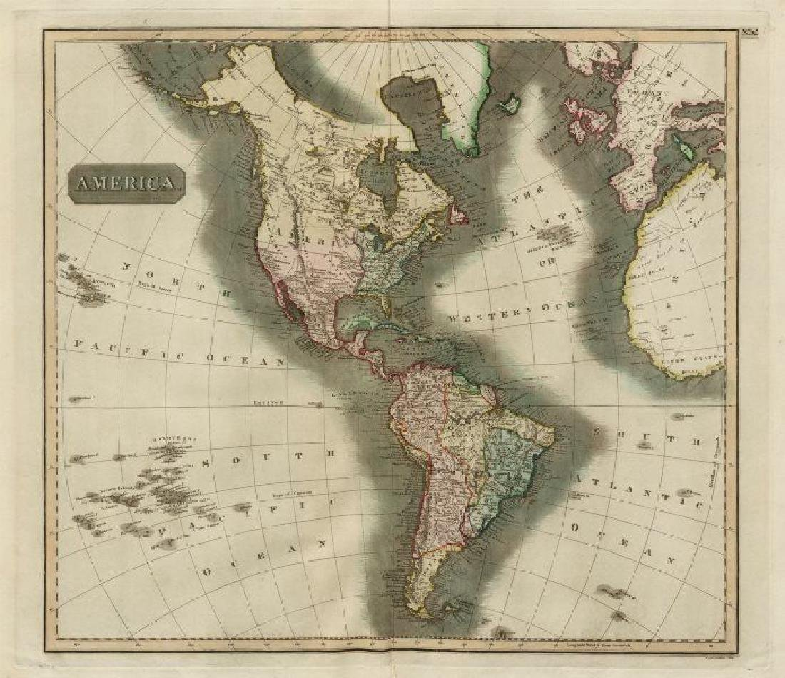 Thomson: Antique Map of North/South Americas, 1817