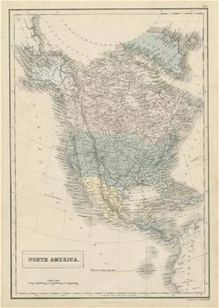 Hall: Antique Map of North America, 1856
