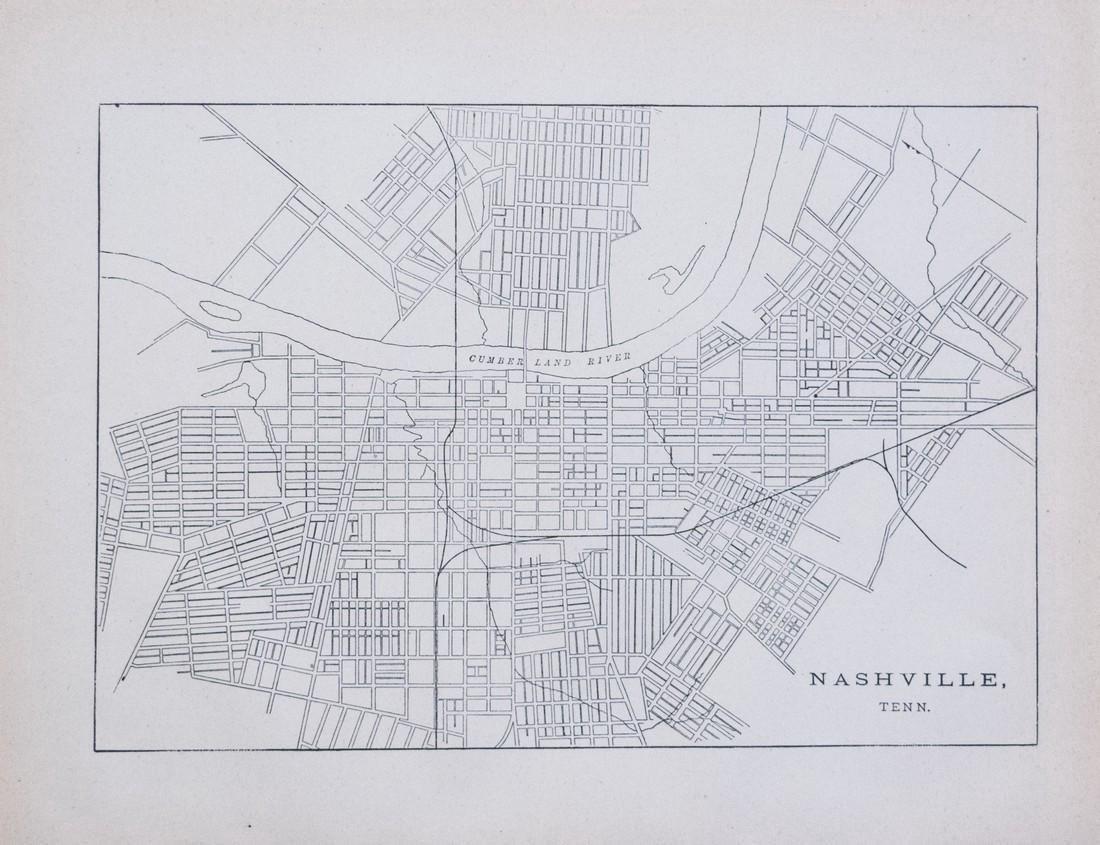 Antique Government Map of Nashville Railroads, 1887