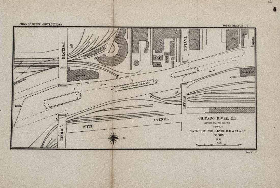 Antique Map of Chicago River Constructions, 1897