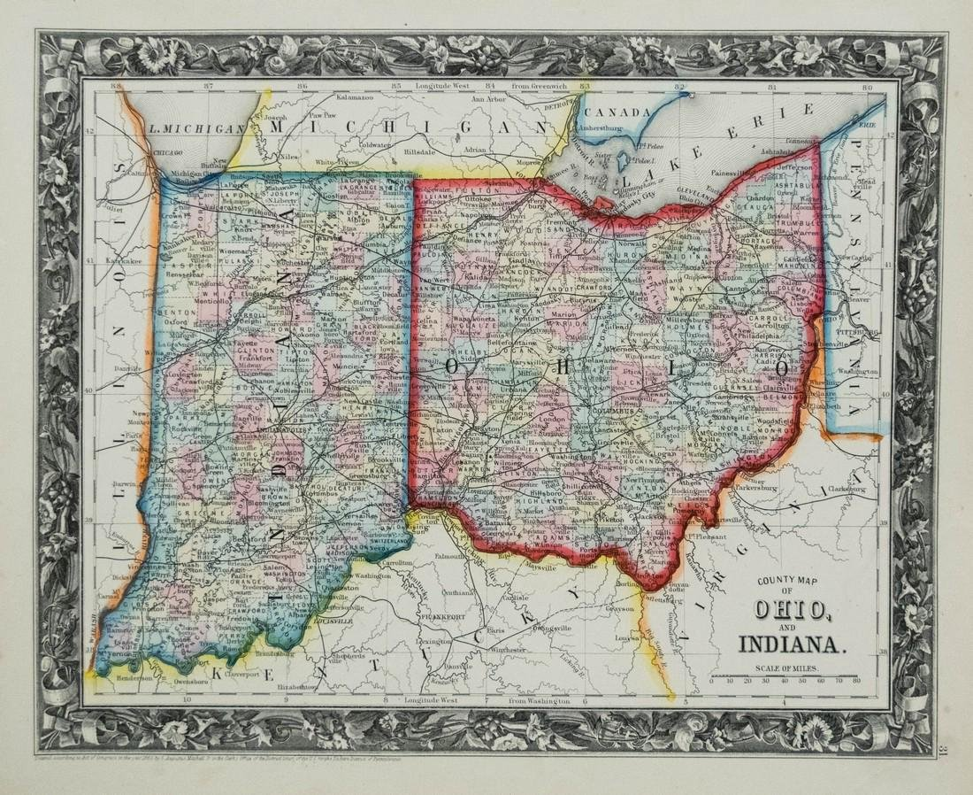 Mitchell: Antique Map of Indiana and Ohio, 1860