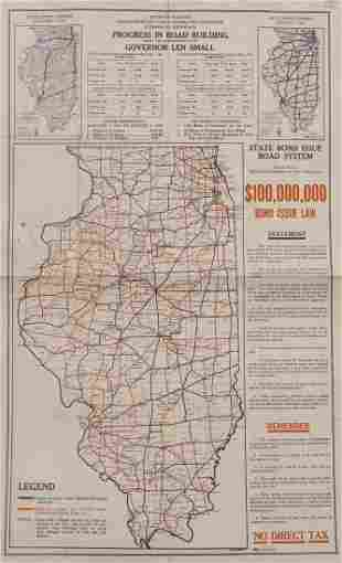 Antique Illinois Road Progress Folding Map, 1924
