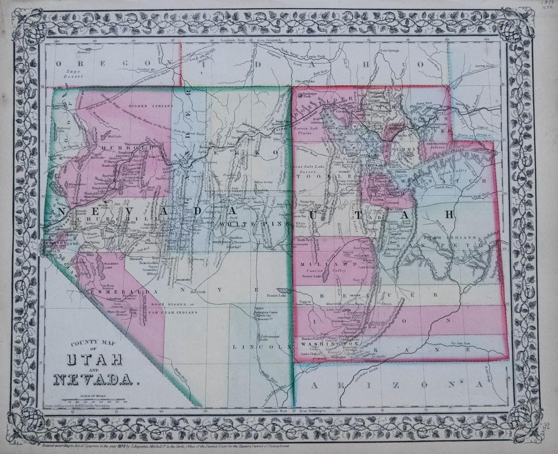 Mitchell: Antique Map of Utah and Nevada,1870