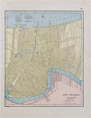 Watson/Cram: Antique Map of New Orleans, Verso Atlanta
