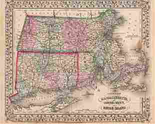 Mitchell: Antique Map of Southern New England, 1870