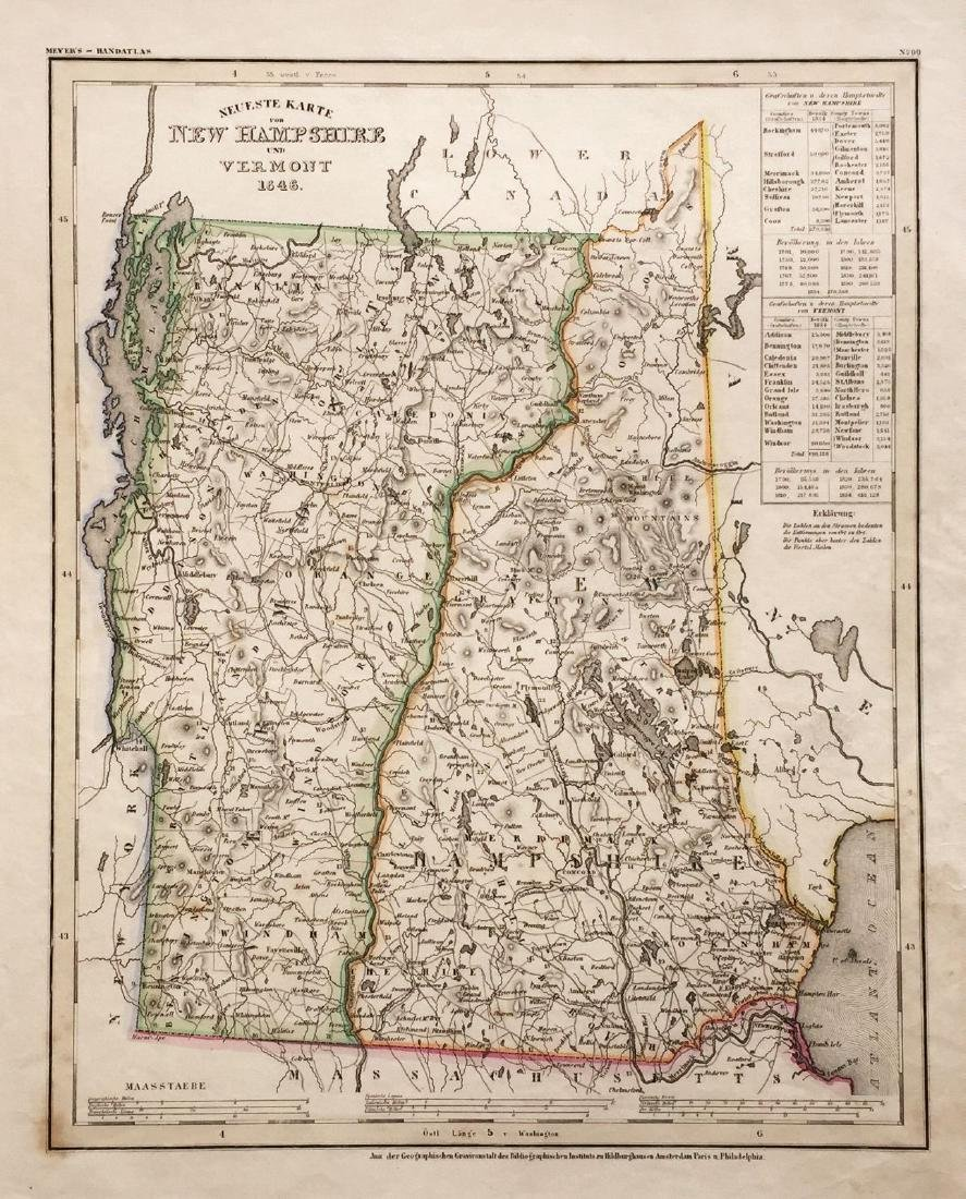 Meyer: Antique Map of New Hampshire/Vermont, 1845
