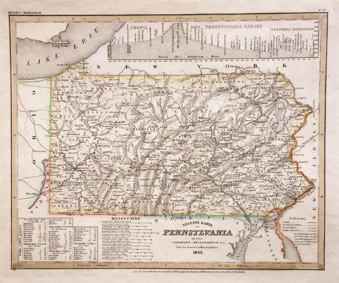Meyer: Antique Map of Pennsylvania, 1845