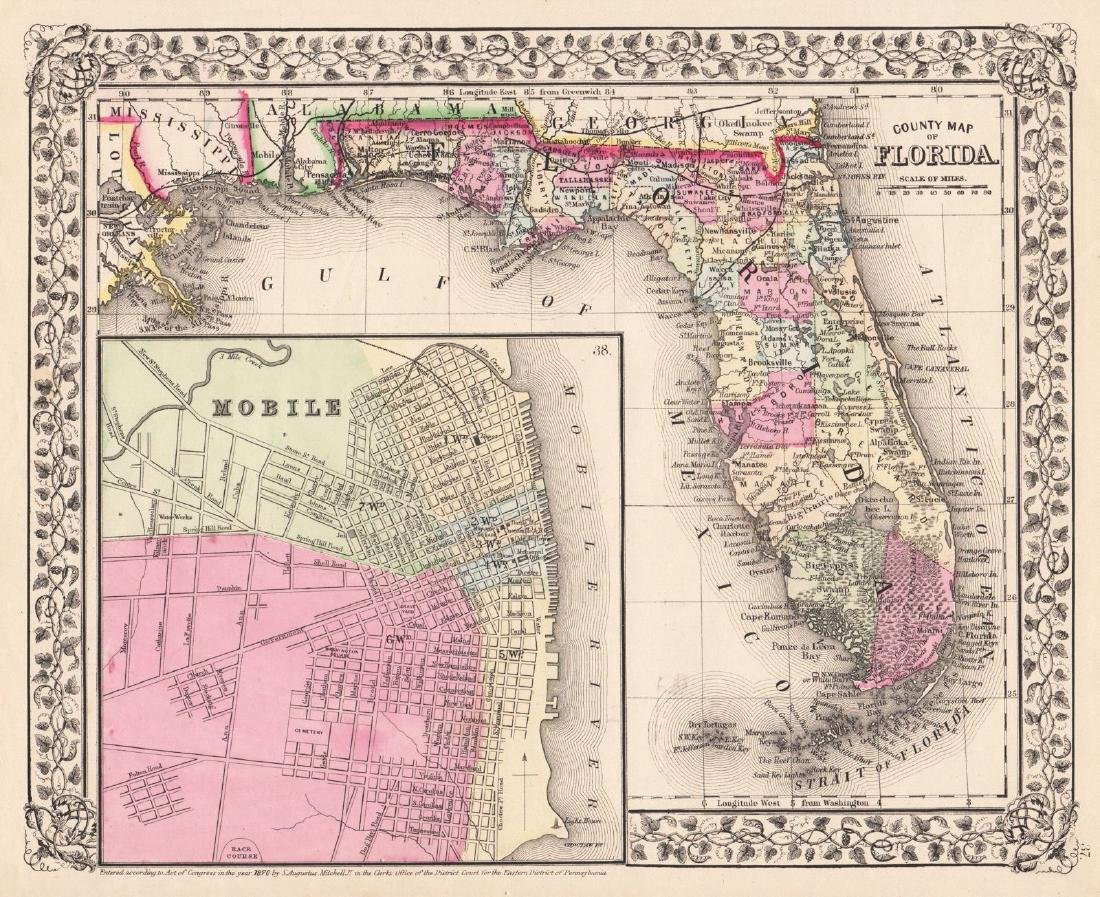 Mitchell: Antique County Map of Florida, 1870