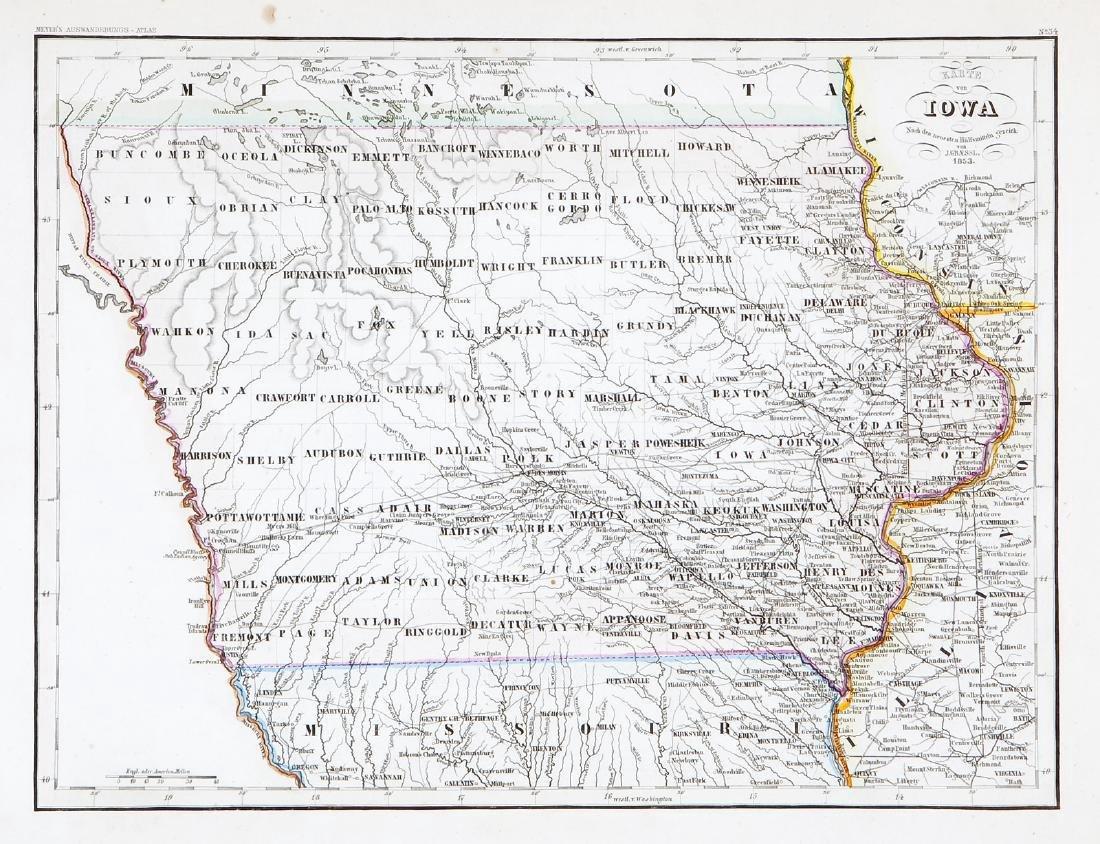 Graessl.: Antique County Map of Iowa, 1849