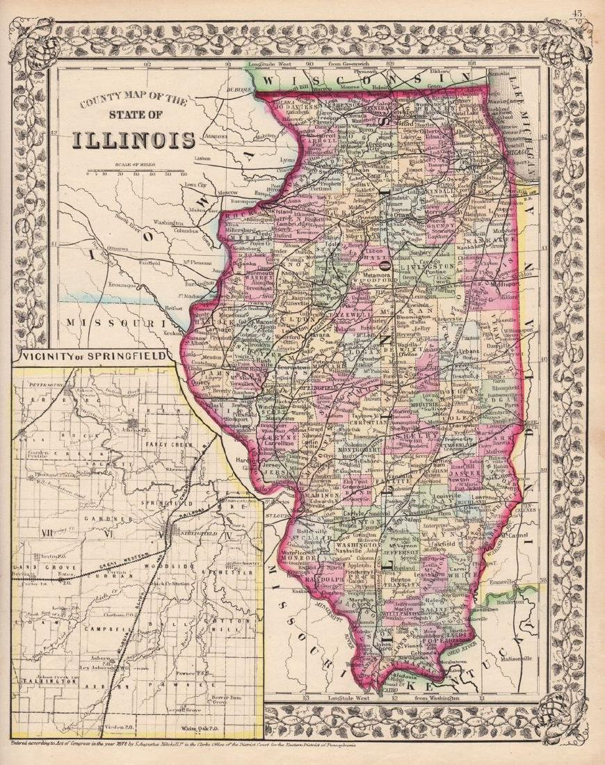 Mitchell: Antique County Map Illinois/Springfield, 1870