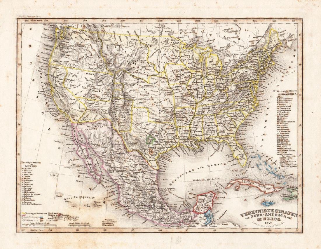 Radefeld/Meyer: Antique Map of U.S. & Mexico, 1852